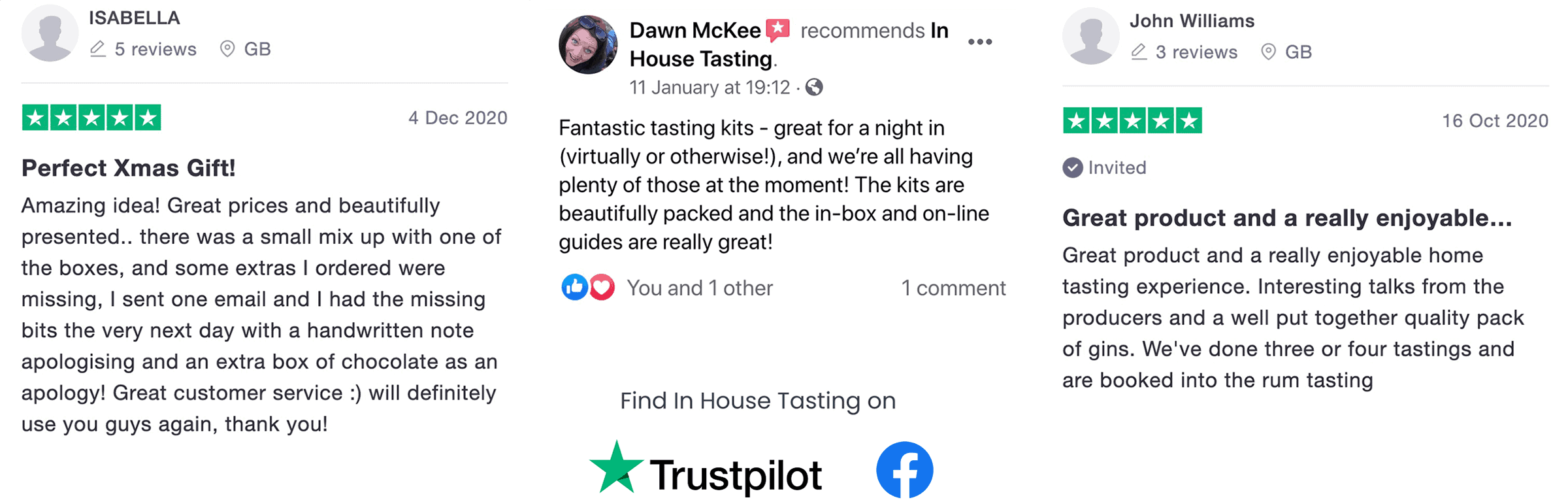 In House Tasting customer reviews